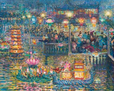 张隆基 《欢度元宵(豫园)》 71×89cm 布面油画 1987  成交价:11.5万元(估价:10万-20万元,北京匡时,张小军竞得)