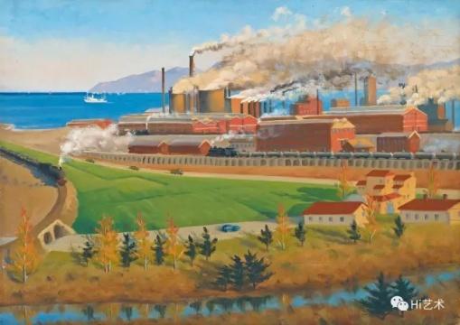 许幸之 《化肥烟涌》 44×62cm 木板油画 1962  成交价:230万元,刷新艺术家个人拍卖纪录(估价:180万-280万元,北京匡时,张小军竞得)