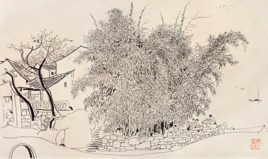 吴冠中 《江边竹》 29.5×49.5cm 纸本速写 1984  成交价:40.25万元(估价:35万-55万元,北京匡时,张小军竞得)