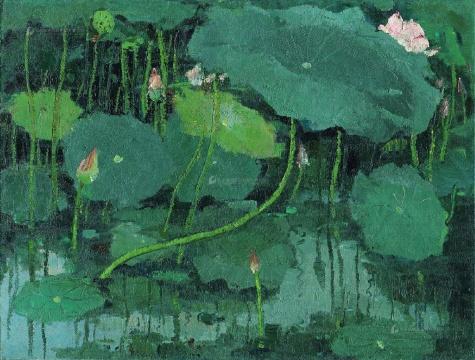 吴冠中 《红莲》 54×73cm 布面油画 1974  成交价:3277.5万元(估价:1500万-2500万元,北京保利现当代艺术夜场TOP1)