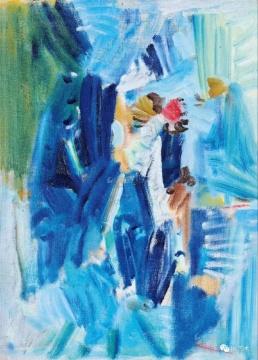 """吴大羽 《无题119》 54.6×39.5cm 布面油画 1980  成交价:667万元(估价:500万-700万元,北京保利中国现当代艺术夜场TOP4)      当代艺术部分,周春芽也是今年北京春拍的一大亮点。曾经创下过周春芽个人成交纪录的""""绿狗"""",此次有一件相同系列的作品在北京匡时上拍,最终这件《绿狗系列——名牌时装》以805万元成交;另一件周春芽的《湖边》以1449万元成交,刷新艺术家""""桃花""""系列最高纪录。而北京保利现当代艺术夜场中则有一件大尺幅的周春芽《幸福一号》无人问津。"""