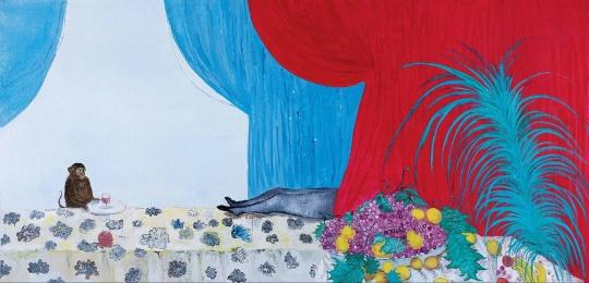 段建宇 《猴子、腿、红色布帘》 120×250cm 布面油画 2007  成交价:92万元(本次估价:38万-48万元;2017保利春拍在160万-260万港元的估价上流拍)