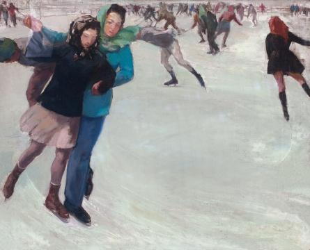 艾中信 《滑冰》 71.5×88cm 布面油画 1946  估价:180万-280万元      王新友:艾中信的作品真实的表达出那个年代的特征,笨拙而朴素,这是当下中国当代艺术氛围里所缺少的气质。    伍劲:这是国立北平艺专时期的作品,从中能看到当时在北京的生活充满浪漫气息。从回忆录里可以知道萧淑芳本人是一个滑冰高手,他的交际圈包括艾中信,都是徐悲鸿体系的学生,这幅作品正好描绘这些年轻的艺术新人们的生活,虽然他们的生活三年后就发生了很大的变化。