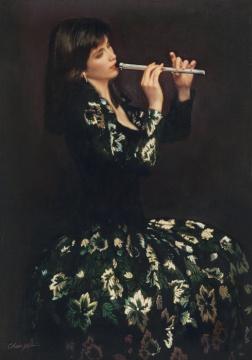 陈逸飞 《吹箫》 107×76.5cm 布面油画 1988  估价:420万-620万元      华雨舟:这是陈逸飞八十年代在美国创作的一件作品,也是其早期最重要的作品之一。艺术家以极为细腻的笔触构建画面,标致的五官,柔金的发色,以及礼服绸缎的质感,都体现了极高的色彩、造型协调能力,在着色过程中,陈逸飞用其标志性的厚涂磨砂技术,在多重上色之后再加打磨,不但使笔触难以察觉,人物轮廓亦变得柔和,形成朦胧的感觉!这一阶段的作品在日本西武百货公司展出后,都被日本及亚洲的藏家收藏,今天又一件重要作品的出现也是难得的机会,对陈逸飞先生的收藏家来说,绝对是利好!    伍劲:80年代的陈逸飞的作品在市场非常罕见,尤其是音乐人物的题材。我印象中这样的作品好多年没有出色的作品出来了。这件作品虽然尺寸不大,但是非常完美。陈逸飞的造型、色彩的才华显现无疑,值得重视。      推荐作品四:王广义《黑色理性-病理学》——市场对学术价值的一次博弈
