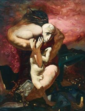 夏小万 《爱》 144×112cm 布面油画 1992  估价:120万-180万元      王新友:充分刻画了诡异荒诞的世界,把人内心原始的心理状态表现得淋漓尽致。      推荐作品九:黄宇兴《距离》——张力和诗意并存