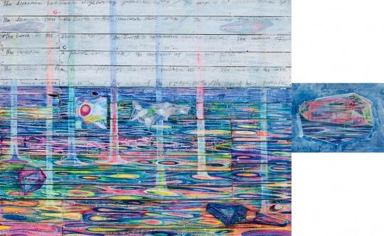 黄宇兴《距离》 152×189cm、45.5×60.5cm、20×20cm 木板、布、油画 2014  估价:50万-80万元      黄予:黄宇兴是新锐艺术家中非常出彩的一位,他的抽象作品画面颜色都很有张力,对于空间和线条的诠释也很有诗意。这件作品的出版著录也很重要。      推荐作品十:段建宇《嘿、哈啰、喂!之三》——西方表现主义的语境融入中国本土元素