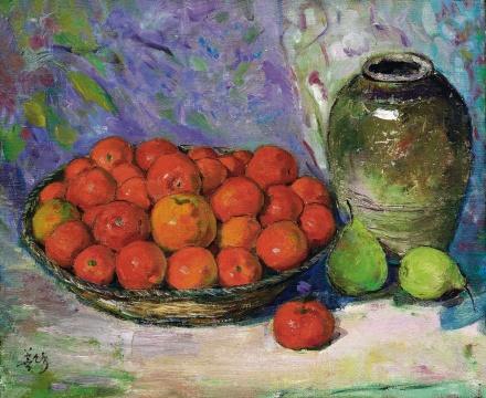 胡善馀《橘子与壶》 38×46cm 布面油画 1950年代  估计:40万-60万元      王新友:这件作品色彩厚重明亮,细致质朴,是件好作品。