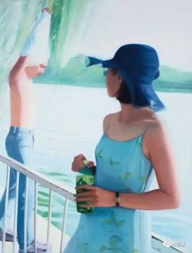 章剑 《两个人》 200×150cm 布面油画 2001  估价:25万-35万元    王新友:章剑早期的代表作之一,他将内心想表达的感受呈现得干净直接,颜色漂亮而不矫揉造作。