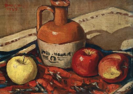 """唐一禾 《静物》 24×33cm 木板油画 1932  估价:20万-30万元    李抗:唐一禾的作品在市场中一直有着""""只闻其声,不见其人""""式的神秘感。1932年的唐一禾正求学于法国巴黎高等美术学院,作品透着浓浓的欧洲味道。此作能有幸从国外回流国内,定让国内不少藏家神而往之。    推荐作品九:刘虹《畅想曲》——在女性绘画的脉络里,这可以算是80年代最具代表性的作品"""