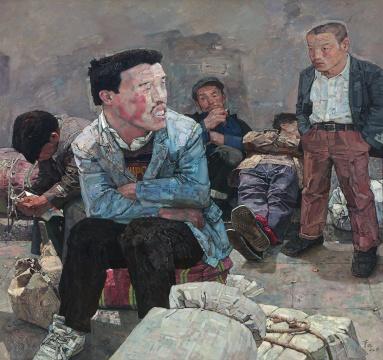 忻东旺 《明天,多云转晴》 150×160.5cm 布面油画 1996  成交价:429.2万元(估价:280万-380万元,据推测由泰康竞得)