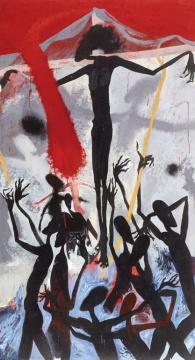 黄宇兴《红色的侵袭》 240×130cm 布面油画 2000  成交价:25.3万元(估价:15万-25万元,日场)