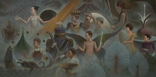 吉一玮 《迷昧之境》 布面油画 160x80cm 2017