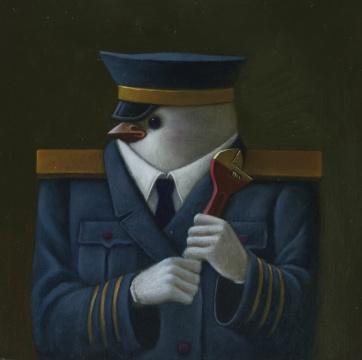 吉一玮 《修理员》 布面油画 25x25cm 2012
