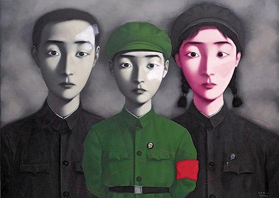 张晓刚 《血缘:大家庭3号》 179×229cm 布面油画 1995  以7441.8万元成交于2014香港蘇富比春拍,系个人拍卖纪录