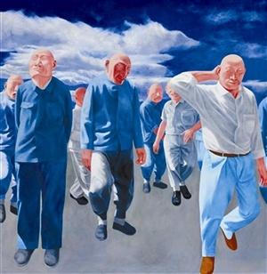 方力钧 《系列二(之四)》 200×200cm 布面油画 1992  以4704.87万元成交于2014香港蘇富比秋拍,系艺术家纪录拍品