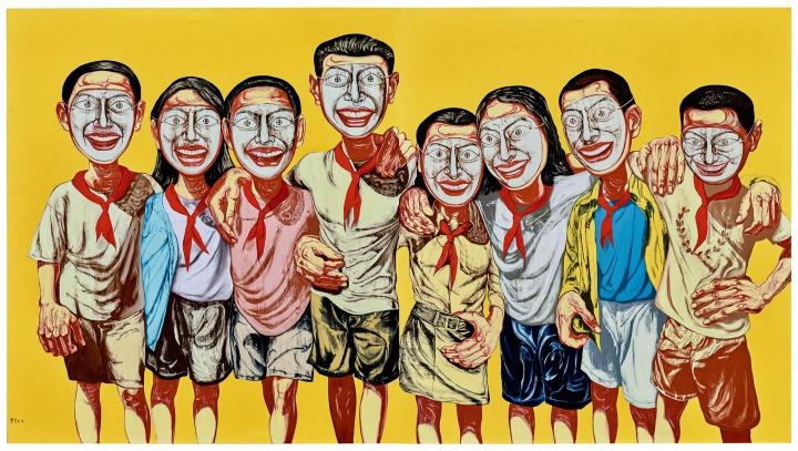 曾梵志 《面具系列 1996 No.6》 199×358.6 cm 油彩画布 1996  以9357.28万元成交于2017香港保利春拍,系艺术家2017春拍第一高价