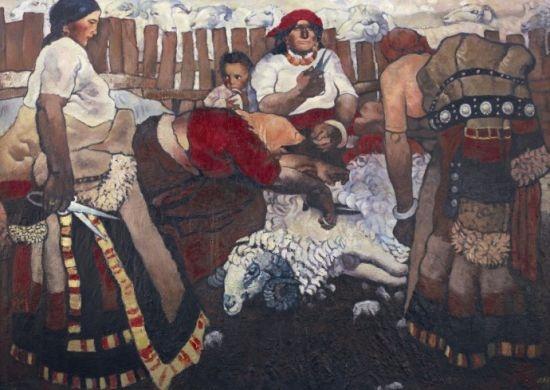 周春芽 《剪羊毛》 170×236cmcm布面油画 1981  以3047.5万元成交于2011中国嘉德秋拍,系艺术家个人纪录拍品