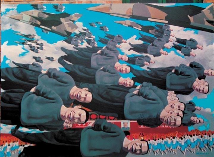 岳敏君 《轰轰》 182×250cm 布面油画 1993  以4813.79万元成交于2008佳士得香港春拍,系艺术家个人纪录拍品