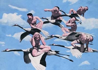 """岳敏君 《天空》 200×281cm 布面油画 1997  以1245.28万元成交于2016香港蘇富比秋拍,系艺术家2016年拍卖第一高价      关于曾经的""""天价""""和如今""""跳楼价""""的比较,北京保利国际拍卖现当代艺术部总经理常天鹄也表示:""""过去的需求是真实的,现在的需求也是真实的,令我高兴的是市场始终有需求。高低不可怕也不丟人,怕的是市场没需求。我们看问题要客观全面,不能拿一个画家顶尖级的代表作去和普通作品类比,那齐白石、傅抱石有过亿的作品,也有几百万的作品,因此不能简单地去看最高价和最低价,要看需求的内在层面。收藏一个艺术家的作品和投资股票不同,股票面值是一样的,而艺术作品每件都不同,自然会形成不同的价位。市场价的丰富性并没有动,观察市场的角度不能太单一,有时候从侧面、后面看一看,往往会有惊喜。""""    资深藏家唐炬在近期接受《Hi艺术》访问时曾表示:""""这两年我也买了王广义、方力钧,我觉得是入手的时候,一两百万就能买一件不错的作品。""""对比曾经的""""天价"""",再根据前文中提到的数据,我们不禁抛出以下疑问:老炮们(85、后89)如今的价格是否已经触底?现阶段造成他们价格硬着陆的原因是什么?他们又是否面临出局?      老炮们价格的硬着陆,  背后究竟是什么原因?      就王广义《大批判·LG》这件拍品的惨淡成交,资深艺术品经纪人李苏桥曾一针见血地指出,这是由市场无共识造成的:""""王广义、方力钧等'85'、'后89'艺术家的作品价格都快接近收藏的人情价格了……明摆着蠢蠢欲动的资本的共识仍在如何快速获利上,面对这么大的可流通盘,消化它需要一个很长的时间。"""""""