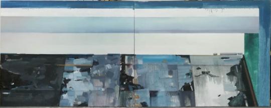 廖斐《材质No.5 》140×110cm×2 布面油画 2017
