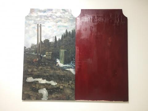 《一个矮子》 300×266cm 布面油画、板面油画 2017