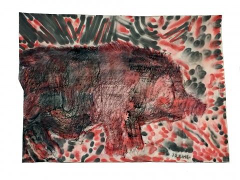 《剑猪》 165x190cm 帆布上油画、喷漆2016