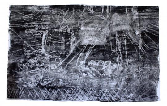 《黑板,有时候教导有方也是谜团》 166×242cm帆布油画 2016