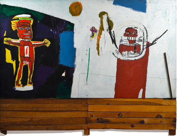 巴斯奎特 《致水神》 209.6×274cm 亚克力、油画棒、丝网印刷 1948  以4228.75万港元成交于2017香港蘇富比春拍