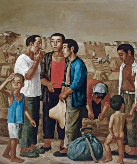 段建伟 《麦客到来》180×150cm 布面油画 1994  以437万元成交于2015中国嘉德秋拍,系艺术家纪录拍品