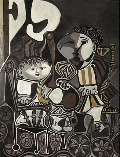 巴勃罗·毕加索《克劳德与帕洛玛》116×89 cm油彩画布1950  成交价:2800万美元(约合1.72亿元人民币),由万达集团收藏 2013纽约佳士得秋拍