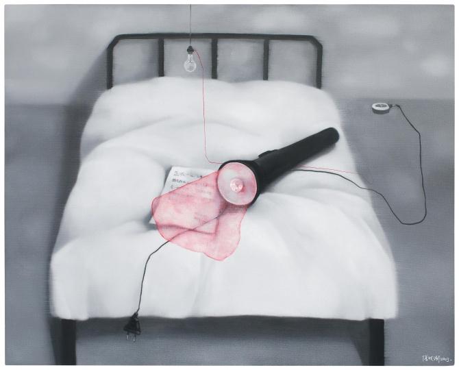 张晓刚 《失忆与记忆:床》 120×150cm 油彩画布 2003  成交价:295万港元2017香港保利春拍