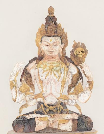 《莲座像之二十》 60×50cm 绢本综合 2016