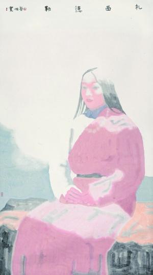 田黎明《扎西德勒》168×94cm 设色纸本  成交价:253万元中国嘉德2011春拍