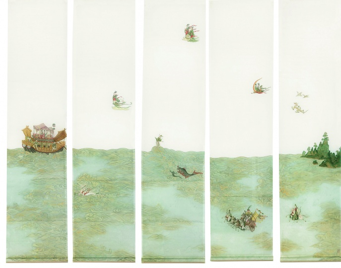彭薇《新洛神赋》170×42cm×5 立轴绢本 2005  成交价:253万元 北京匡时2014秋拍