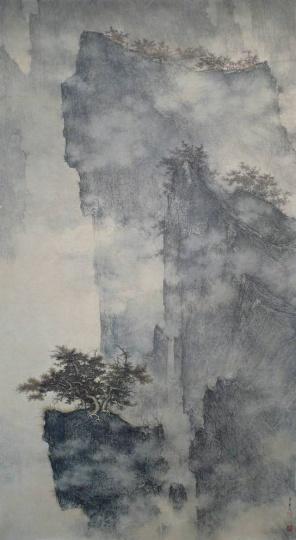 李华弌《北宋山水》152.5×83cm 纸本设色 2009  成交价:362.94万元佳士得香港2014秋拍