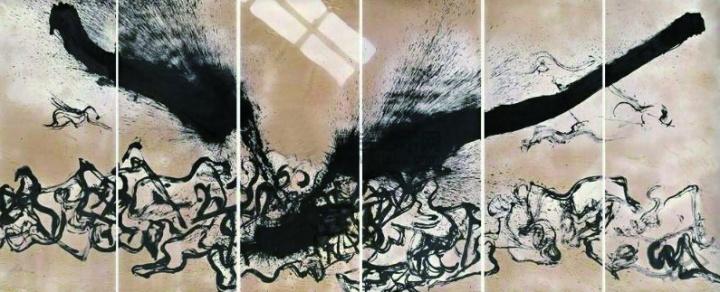 秦风《欲望风景》400×160cm×6 设色纸本  成交:347.2万元北京保利2008春拍