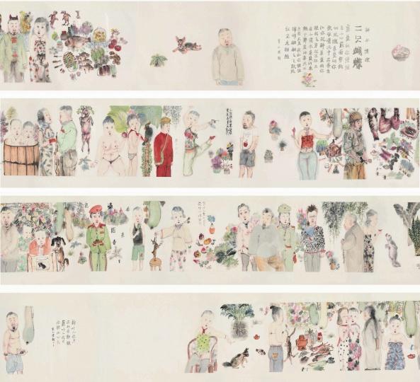 李津《两只蝴蝶》51.8×1389.2cm 纸本彩墨 2006  成交价:597万元佳士得上海2015春拍