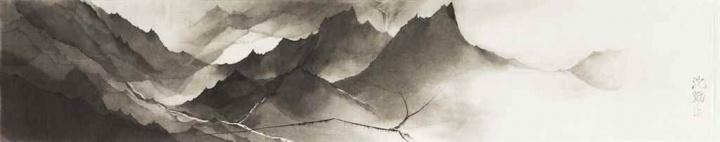 沈勤《山》35×175cm 水墨纸本  成交价:22.2万元 佳士得香港2017春拍