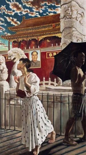 《蝴蝶》250x140cm 布面油画 1990 (刘钢、陈育收藏)