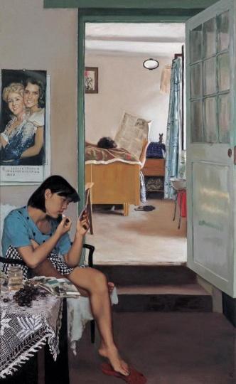《涂口红的女孩》170×109cm 布面油画 1990 由泰康保险集团股份有限公司收藏