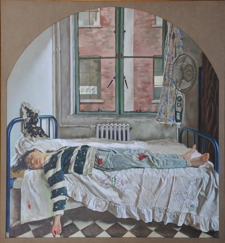 《在那个早晨》200x190cm 布面油画 1990(唐炬收藏)