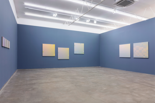 画廊将展厅区隔为两个空间,入口处的展墙刷成了蓝灰色衬托作品