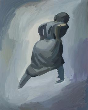 聂世伟《奔跑的女孩》120×150cm 布面丙烯 2017