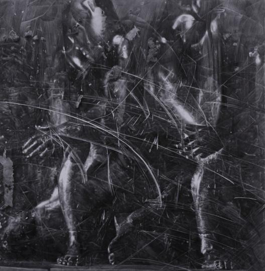 《两个运动中的身体》265×260cm石墨毛毡2017