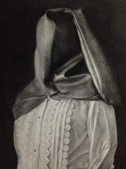 《肖像2》100x80cm 碳笔毛毡2013