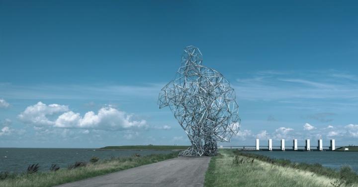《曝光》 2560×1320×1850cm镀锌钢2010  第6届弗莱福兰景观作品,荷兰莱利斯塔德市永久装置(艺术家和常青画廊,圣吉米那诺 / 北京 / 穆林 / 哈瓦那。©Antony Gormley)      2009年,葛姆雷击败翠西·艾敏、安尼施·卡普尔获得了在伦敦Trafalgar广场第四展示台上的展览权。作品《One&Other》一度成为年度最热的公共话题之一。