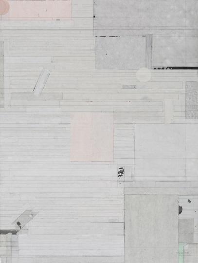 梁铨 《桃花源之一》120×90cm色、墨宣纸拼贴 2015  RMB:20万-30万元