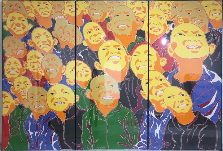 方力钧 《2016》 244×366cm 木刻版画 2016  RMB:10万-50万元