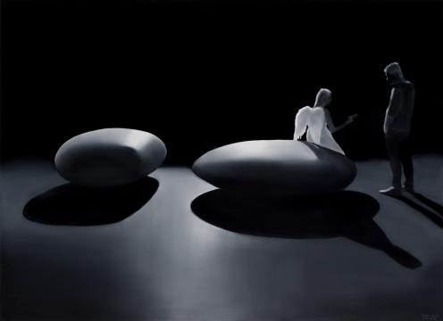 拉兹罗·费赫尔《鹅卵石与天使》160×220cm布面油画 2014
