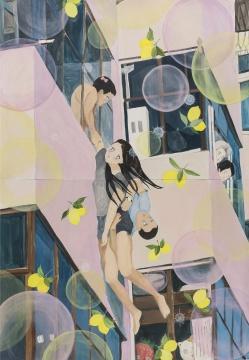 刘茵《跳楼女子》,2015年,铅笔,水彩,丙烯,157.4 x 109.2cm